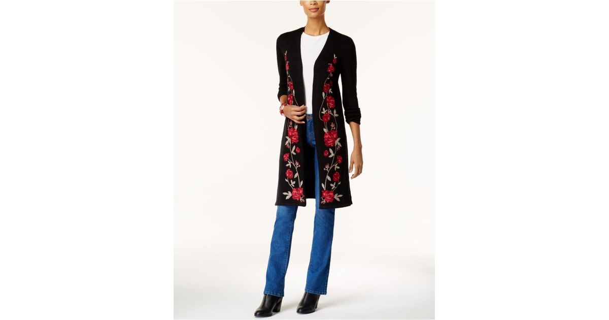 Style & co. Floral-embroidered Duster Cardigan in Black - Save 32 ...