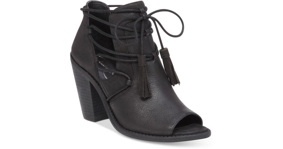 b2fcd1ccb65 Jessica Simpson - Black Ceri Tassel-tie Peep-toe Booties - Lyst