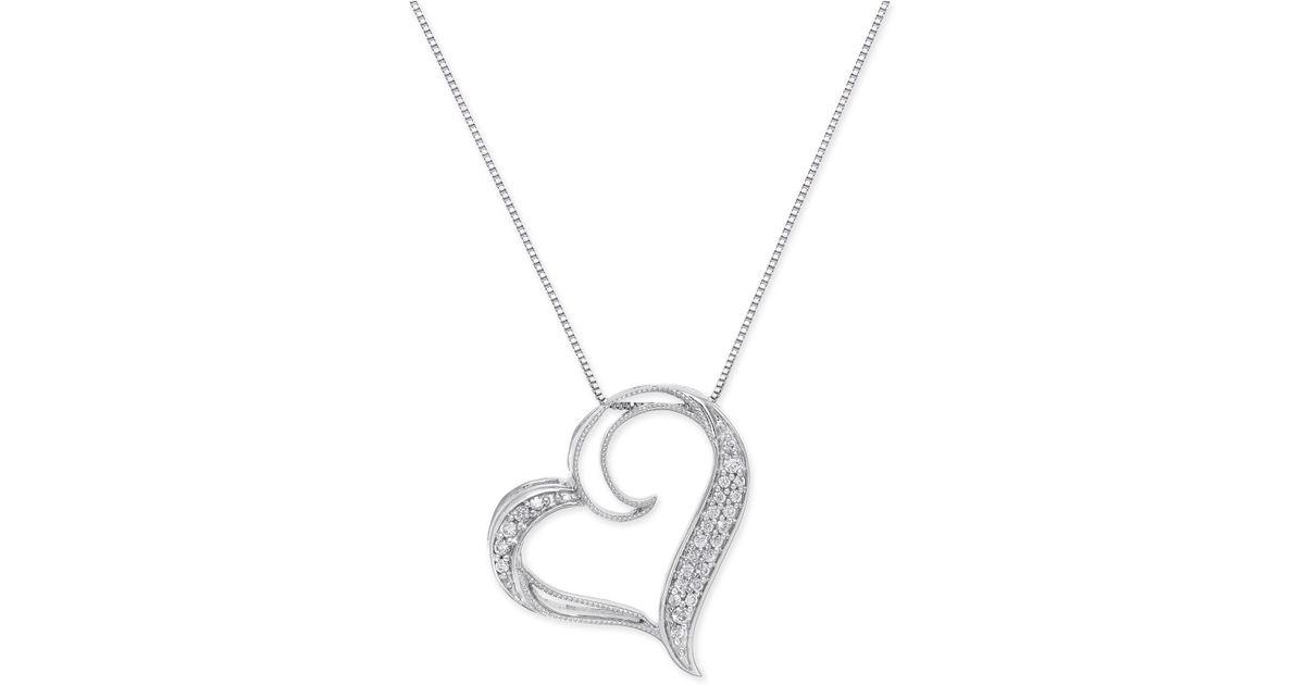 Lyst macys diamond floating heart pendant necklace 16 ct tw lyst macys diamond floating heart pendant necklace 16 ct tw in sterling silver in metallic aloadofball Images