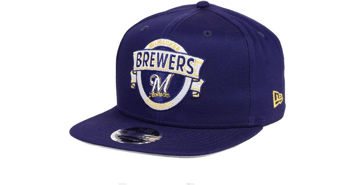 save off ac61f ff8d0 KTZ Milwaukee Brewers Banner 9fifty Snapback Cap in Blue for Men - Lyst