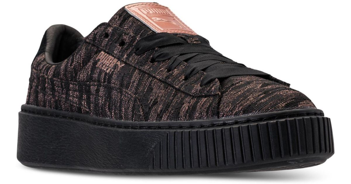 f9e426ccfcfa Lyst - Puma Women s Basket Platform Velvet Rope Casual Sneakers From Finish  Line in Black