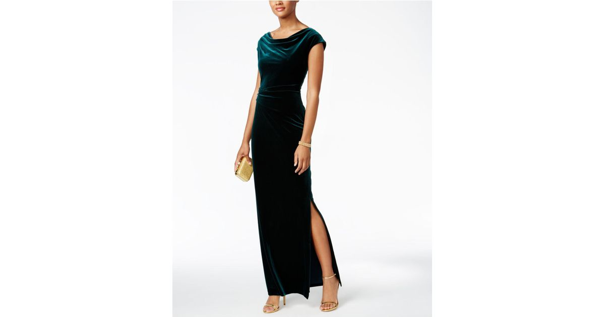 Lyst - Vince Camuto Velvet Cutout-back Gown in Green