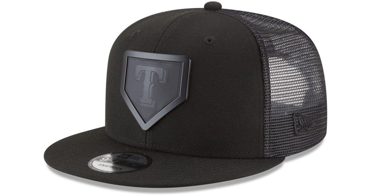 buy online 7685a 131ba ... shop lyst ktz texas rangers leather metal plate 9fifty cap in black for  men 06ce3 5f8dd