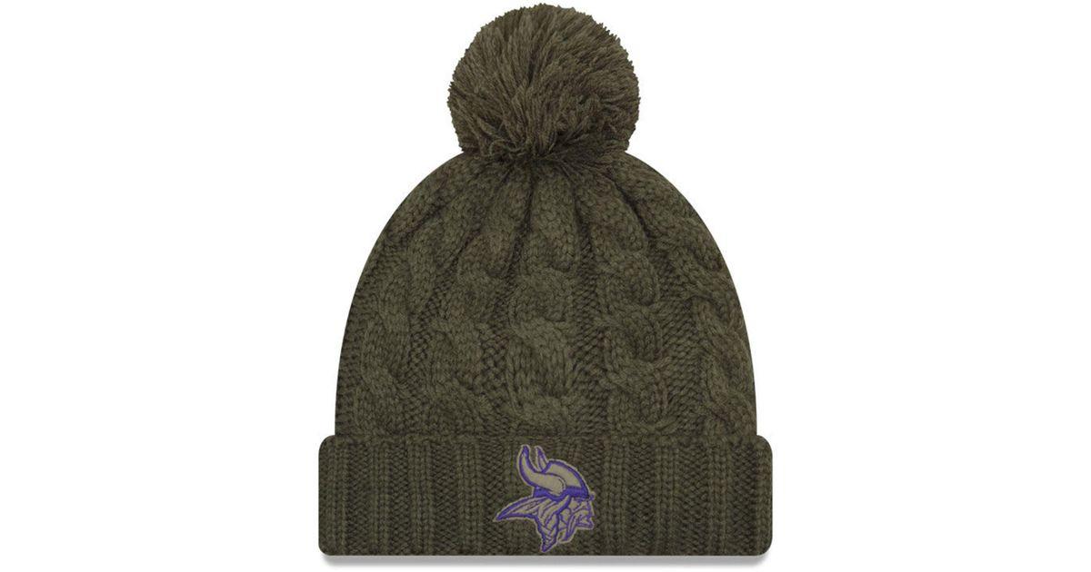 5a9a04137 Lyst - KTZ Minnesota Vikings Salute To Service Pom Knit Hat in Green