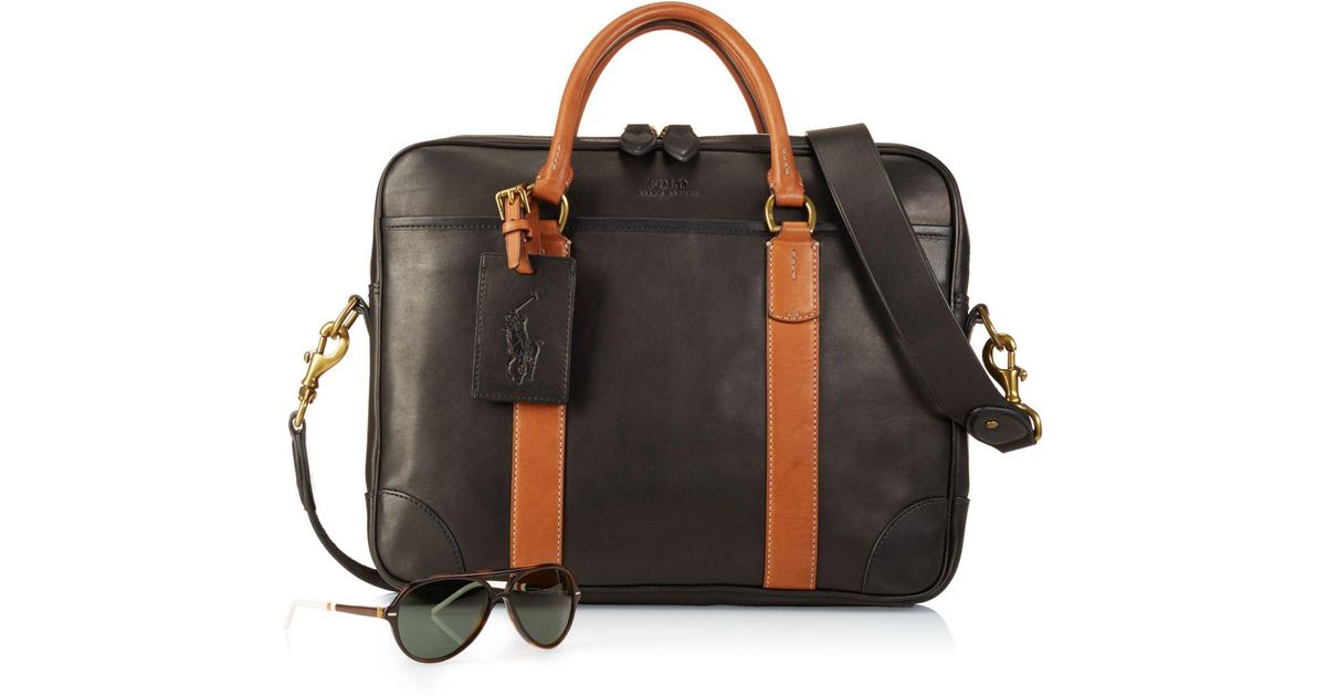 e454783d7ce Lyst - Polo Ralph Lauren Leather Commuter Bag in Black for Men
