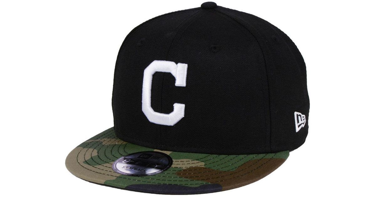 new concept d0f91 b2b64 Lyst - KTZ Cleveland Indians Woodland Black white 9fifty Snapback Cap in  Black for Men