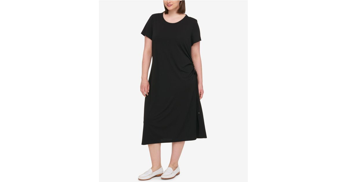 17130ac4ef368 Lyst - Tommy Hilfiger Plus Size Ruched Midi Dress in Black