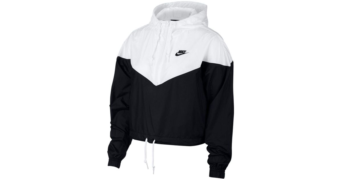 00b1500fd04ab Nike Heritage Cropped Track Jacket in Black - Save 29% - Lyst