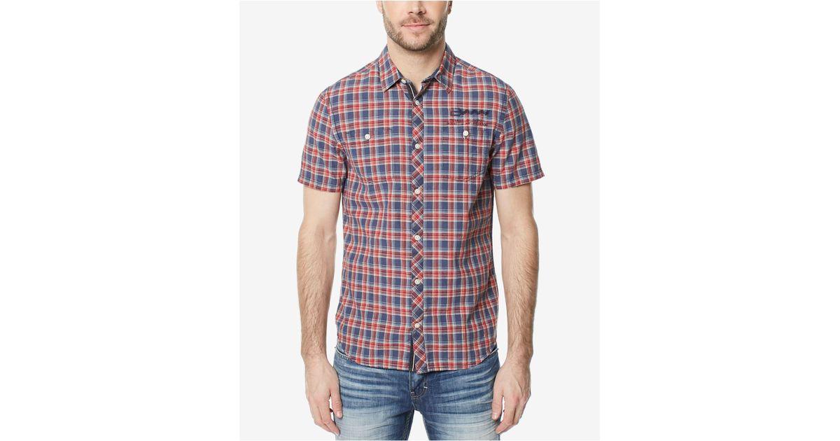 f7c096c449 Lyst - Buffalo David Bitton Men s Santonis Plaid Shirt in Red for Men