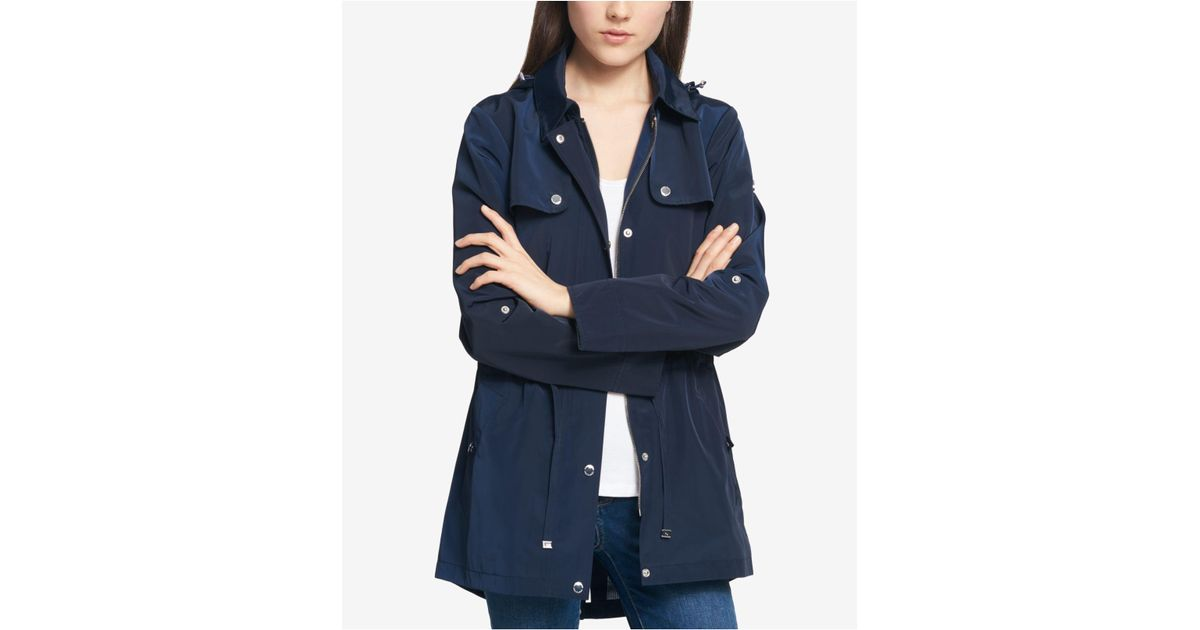 576134a67 Tommy Hilfiger Water-resistant Petite Hooded Tab-sleeve Anorak in Blue -  Lyst
