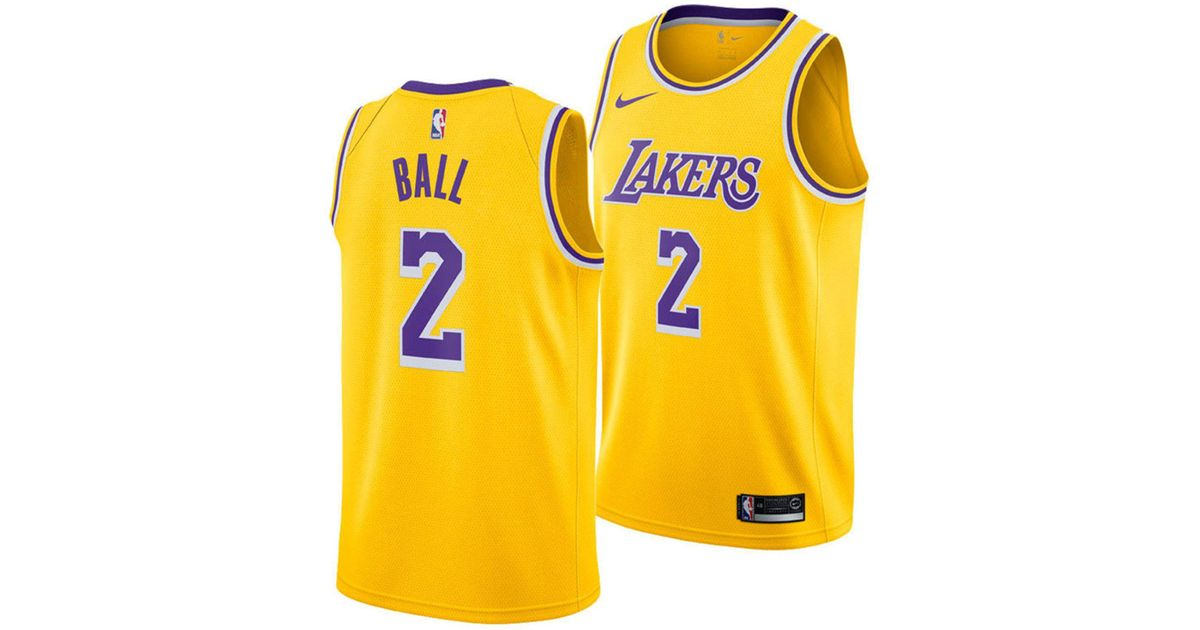31e998b06df Lyst - Nike Lonzo Ball Los Angeles Lakers Icon Swingman Jersey in Metallic  for Men