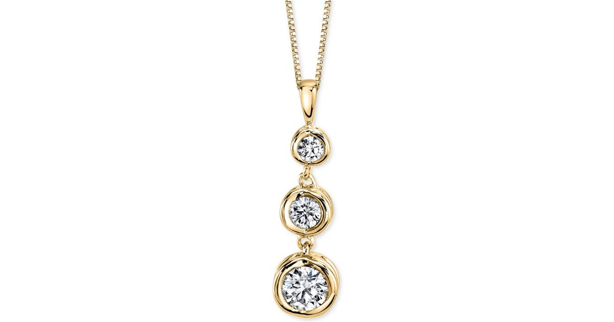Lyst sirena diamond drop pendant necklace 12 ct tw in 14k lyst sirena diamond drop pendant necklace 12 ct tw in 14k gold or white gold in metallic aloadofball Choice Image