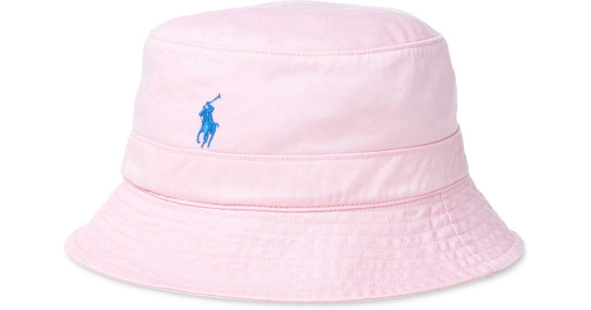 9716779628f Lyst - Polo Ralph Lauren Chino Bucket Hat in Pink