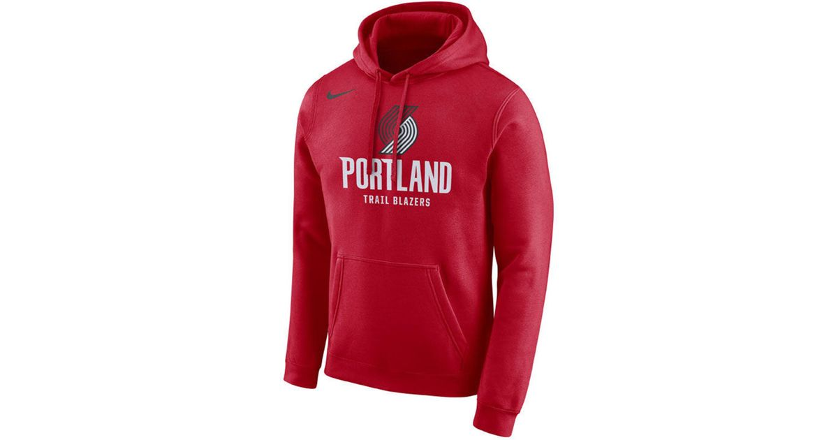 bdde40fc3 Lyst - Nike Portland Trail Blazers Essential Logo Pullover Hoodie in Red  for Men