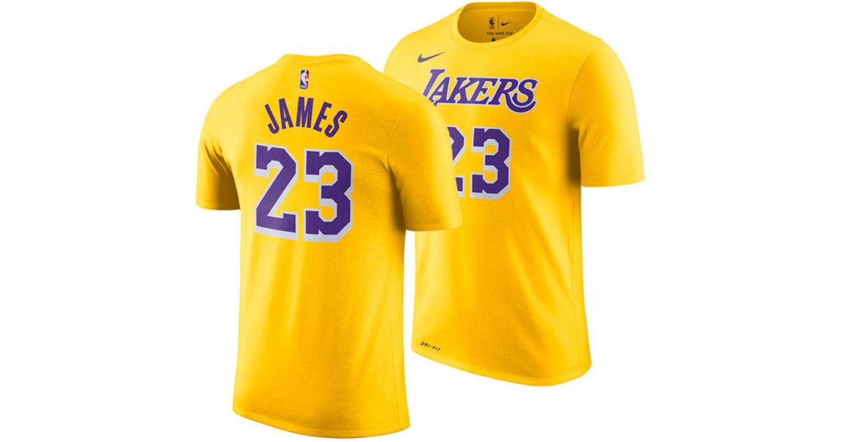 e3d6629e Nike Lebron James Los Angeles Lakers Icon Player T-shirt in Yellow for Men  - Save 26% - Lyst
