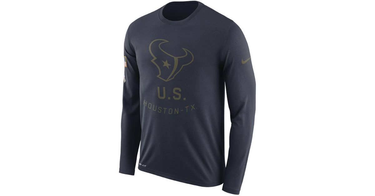 dc24ce0d1 Lyst - Nike Houston Texans Salute To Service Legend Long Sleeve T-shirt in  Blue for Men