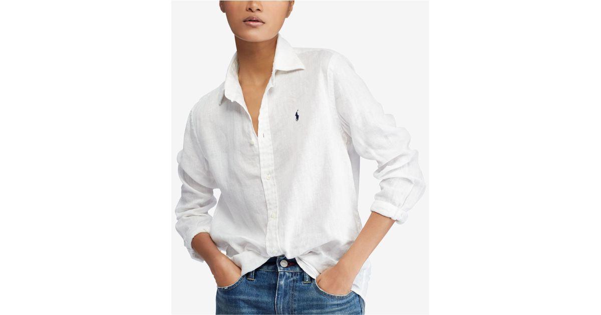 8e4b237093d Lyst - Polo Ralph Lauren Relaxed Linen Shirt in White