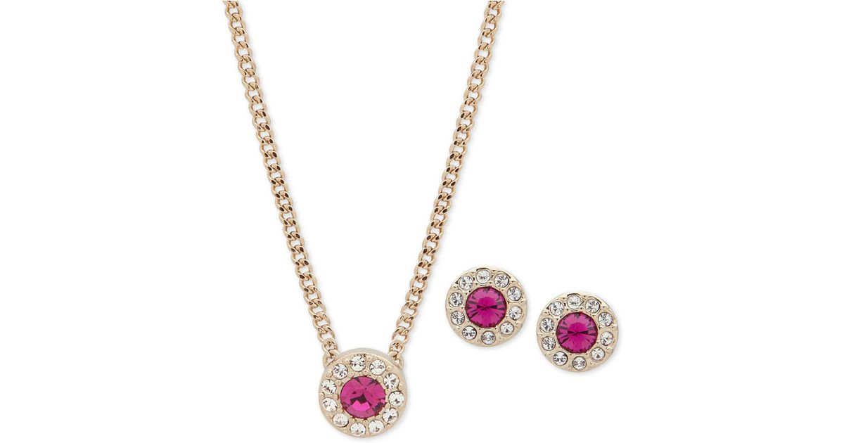 f7168a8309c8f Givenchy - Metallic Pavé Stone Pendant Necklace & Stud Earrings Set, 16