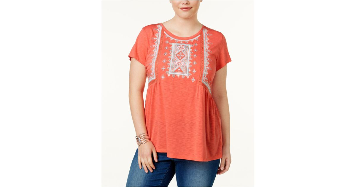 c49ab7ea30750e Lyst - Style & Co. Plus Size Embroidered Cap-sleeve Peasant Top