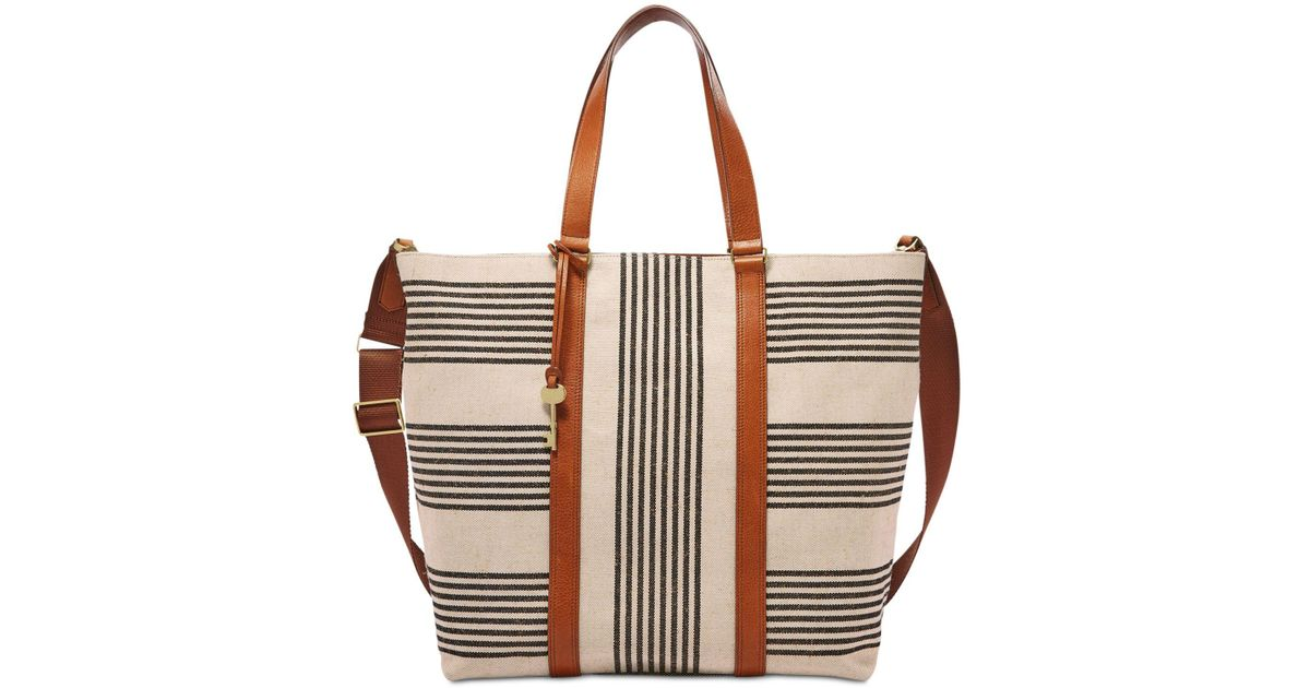d2bd179b7d10 Lyst - Fossil Maya Striped Large Work Tote in Black