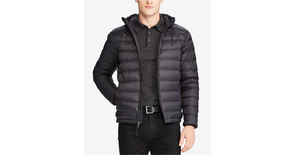 0d0b3ed35 Polo Ralph Lauren Men s Big   Tall Packable Hooded Down Jacket in Black for  Men - Lyst