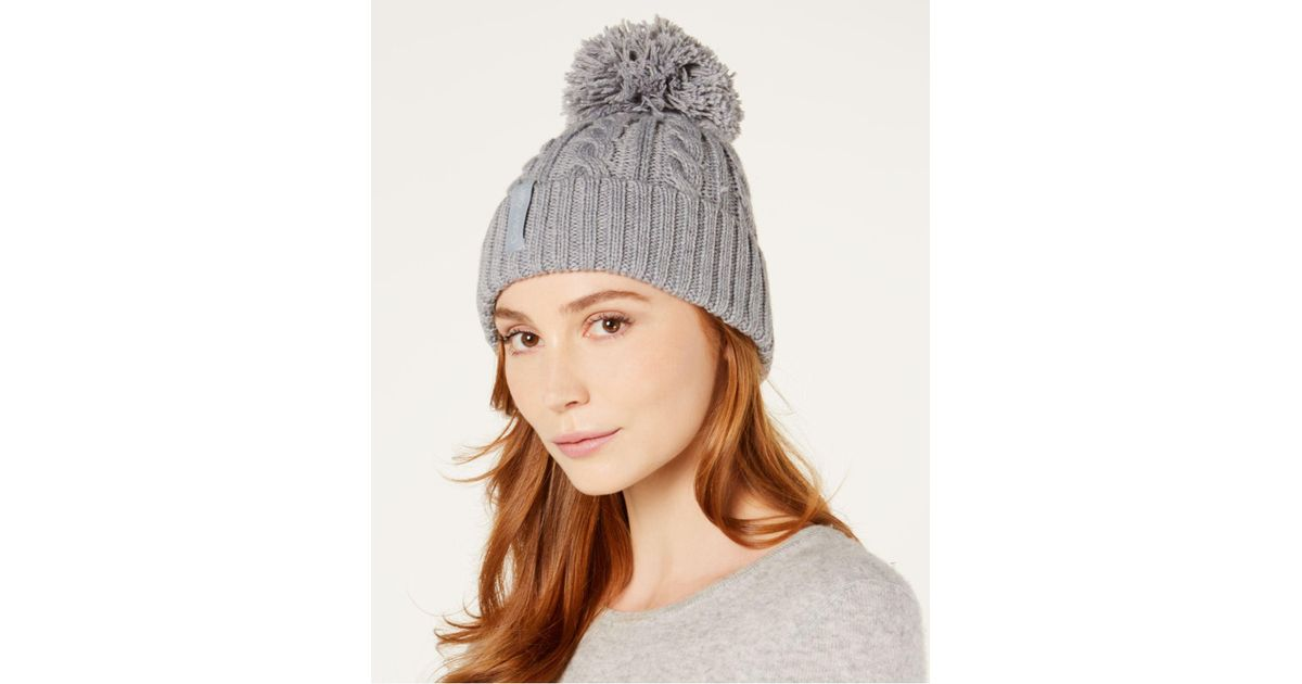 Lyst - Calvin Klein Solid Cable-knit Beanie in Gray 2d07c0f174a