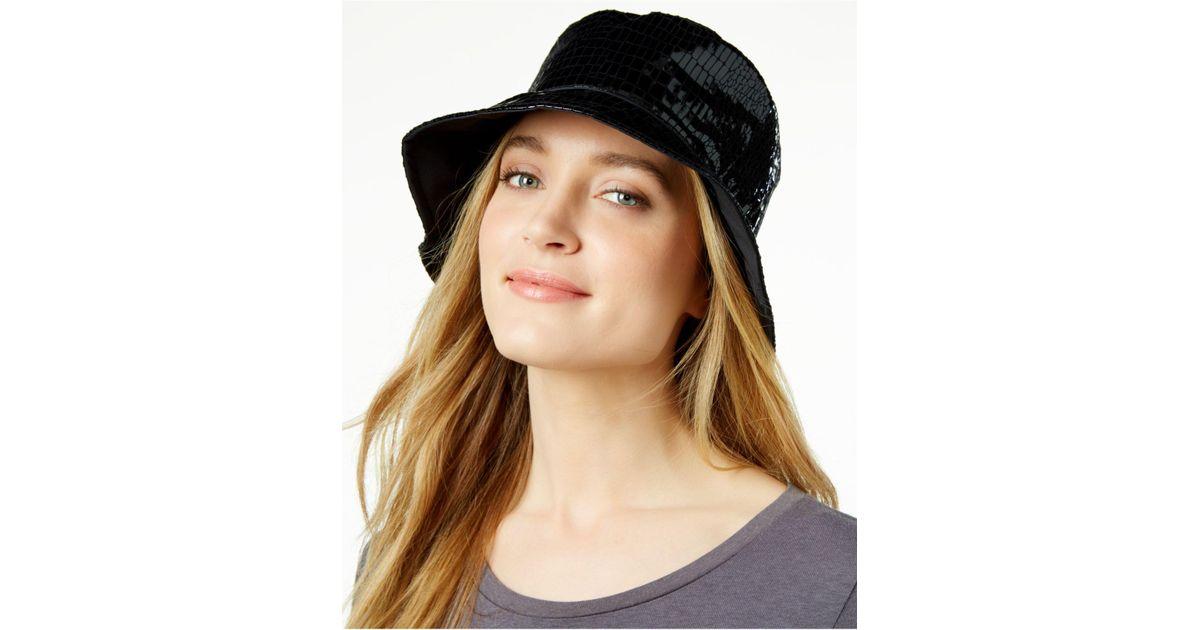 Lyst - Nine West Reversible Rain Bucket Hat in Black 73caed8a8b3