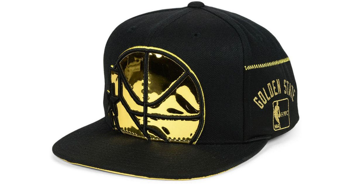 best sneakers 7be3d 1538a Mitchell   Ness Golden State Warriors Patent Cropped Snapback Cap in Black  for Men - Lyst