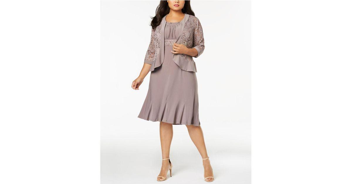 Lyst - R & M Richards Plus Size Empire-waist Dress & Sequined Lace ...