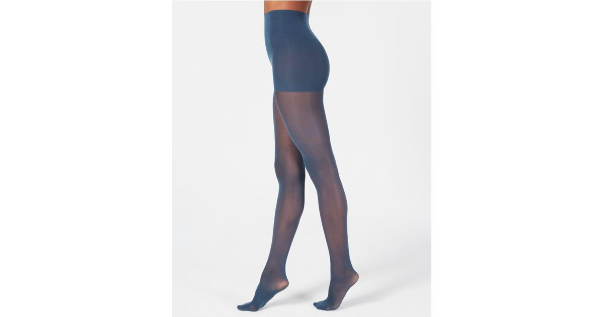 f689ef521 Lyst - Dkny Comfort Luxe Semi Opaque Control Top Tights in Blue