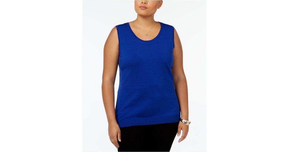 dd7edfda5948f Lyst - August Silk Plus Size Sleeveless Shell in Blue