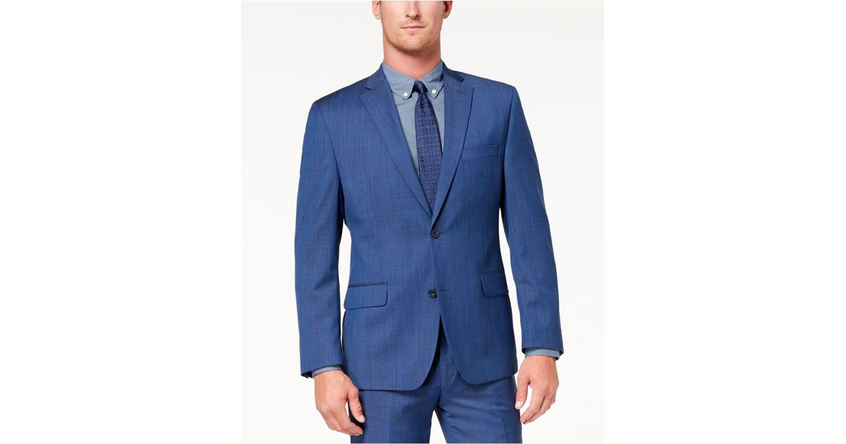 823e1a68fea1 Michael Kors Classic-fit Airsoft Stretch Solid Suit Jacket in Blue for Men  - Save 3% - Lyst