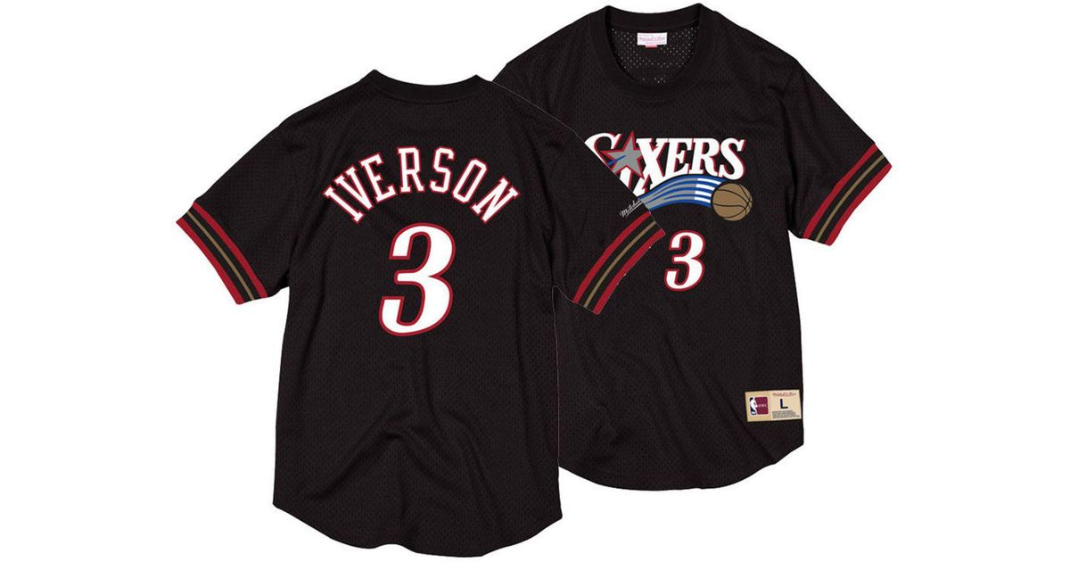 a94325a746c Mitchell & Ness Allen Iverson Philadelphia 76ers Name And Number Mesh  Crewneck Jersey in Black for Men - Lyst