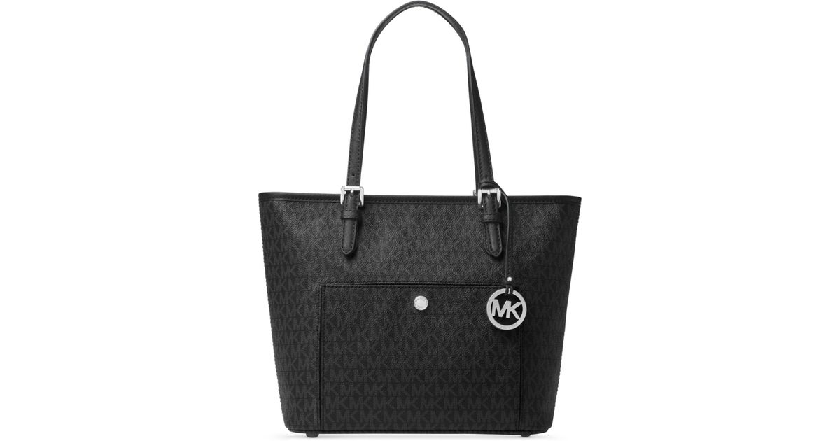 5c2361269777 ... uk lyst michael kors jet set item medium top zip snap pocket tote in  black f6d61