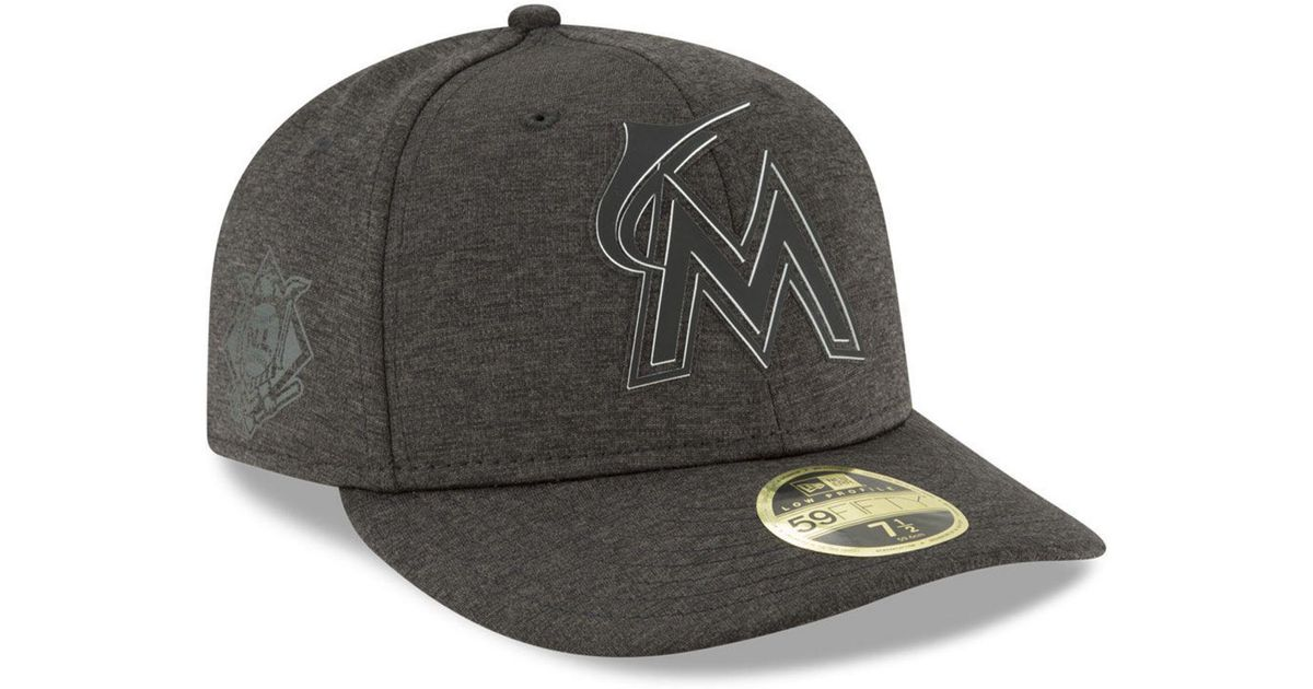 timeless design 9f7c4 2be20 Lyst - KTZ Miami Marlins Clubhouse Low Crown 59fifty Fitted Cap in Black for  Men