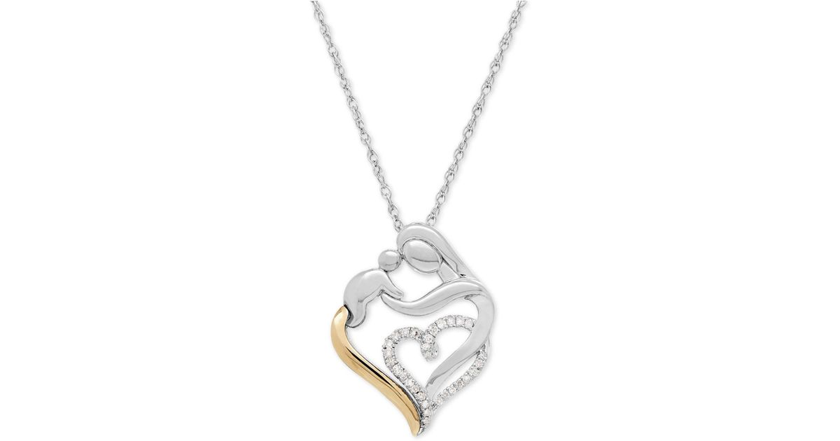 Lyst macys diamond mother and child pendant necklace 110 ct lyst macys diamond mother and child pendant necklace 110 ct tw in sterling silver and 14k gold in metallic aloadofball Choice Image