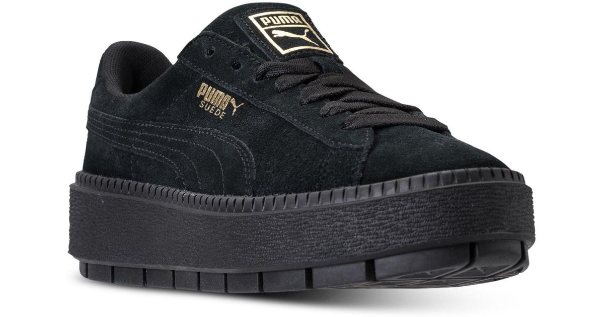 9143fb0a12e033 Lyst - PUMA Women s Suede Platform Trace Casual Sneakers From Finish Line  in Black
