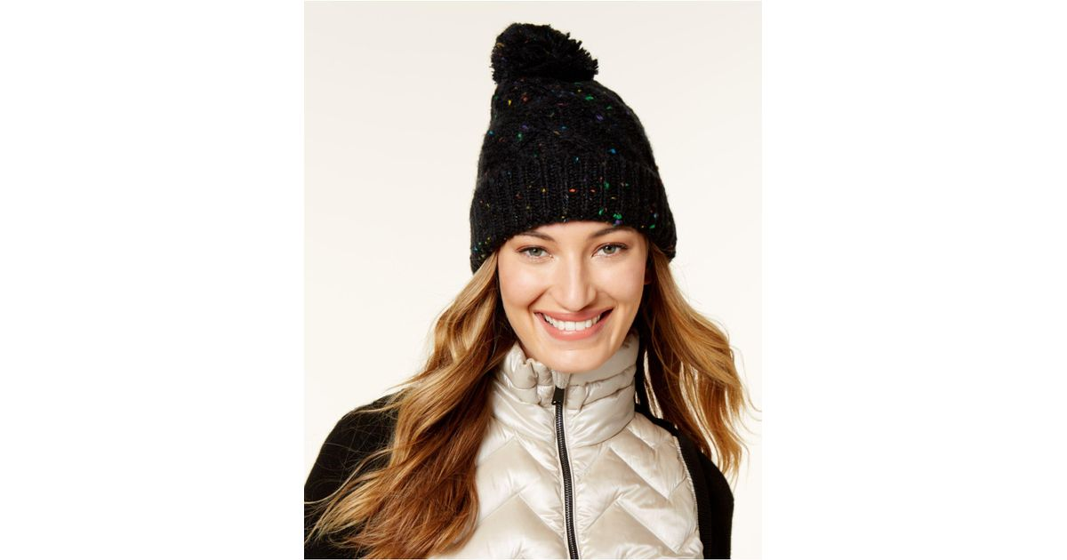Lyst - Steve Madden Speckled Cable Beanie in Black cccbc7aa40e
