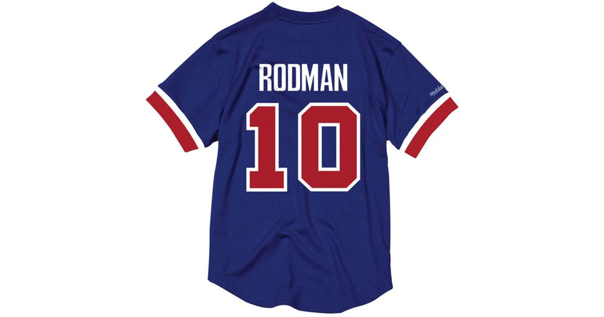 ef60bd3b032 ... greece lyst mitchell ness dennis rodman detroit pistons name and number  mesh crewneck jersey in blue ...