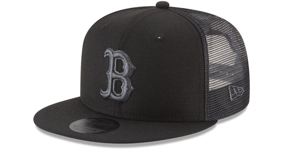 1845d4ec4dd Lyst - KTZ Boston Red Sox Blackout Mesh 9fifty Snapback Cap in Black for Men
