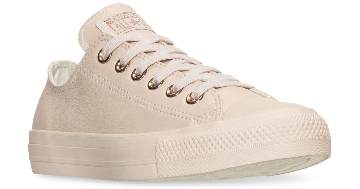 b4be8b04f60d Lyst - Converse Women s Chuck Taylor Pastel Leather Ox Casual Sneakers From Finish  Line in Pink