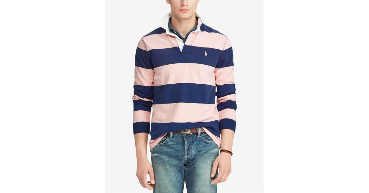 1afc0faa5 ... inexpensive lyst polo ralph lauren pink pony striped rugby custom slim  fit shirt in blue for