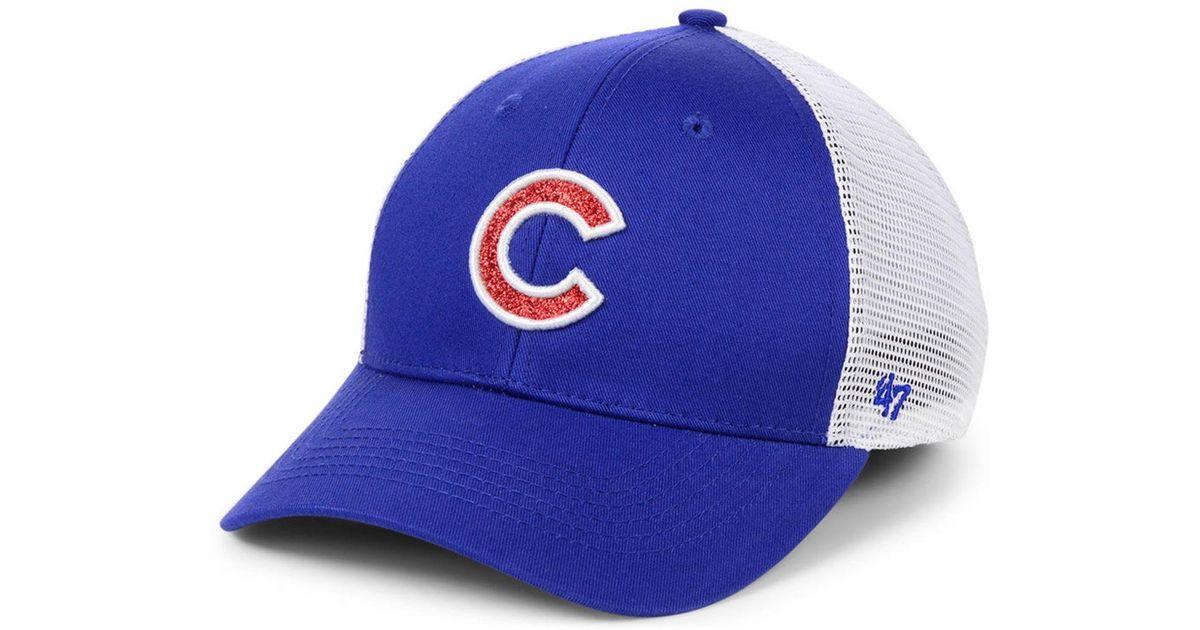 3802b23fc0182 Lyst - 47 Brand Chicago Cubs Branson Glitta Trucker Strapback Cap in Blue