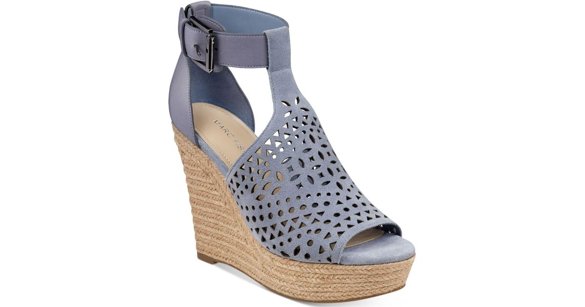 9d5cc1f8197 Lyst - Marc Fisher Hasina T-strap Platform Wedge Sandals in Blue