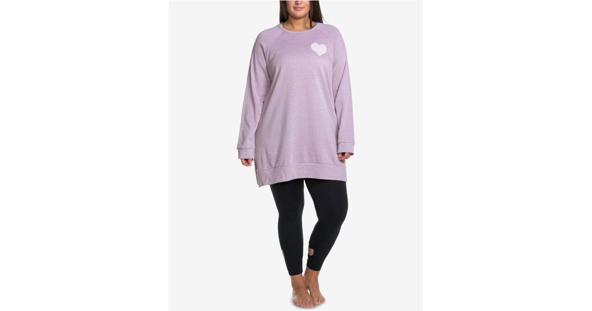 bc63f2be801 Lyst - Soffe Curves Plus Size Oversized Sweatshirt in Purple
