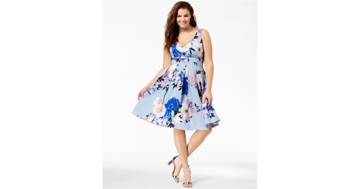 Lyst City Chic Plus Size Floral Print Flare Dress In Blue