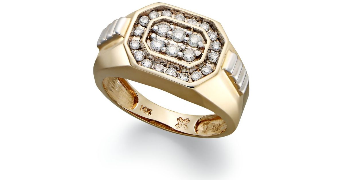 Macy s Men s Diamond Rectangle Ring In 14k Gold 1 2 Ct T w in Met