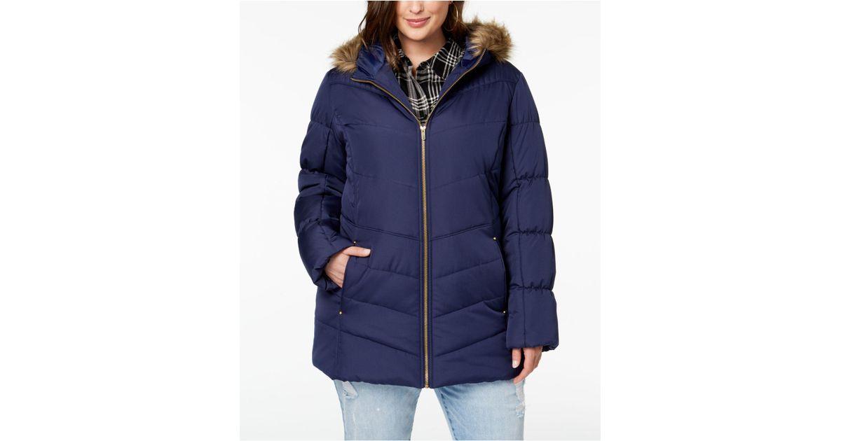 c6a49fd46e9 Lyst - Celebrity Pink Juniors  Plus Size Faux-fur-trim Puffer Coat in Blue