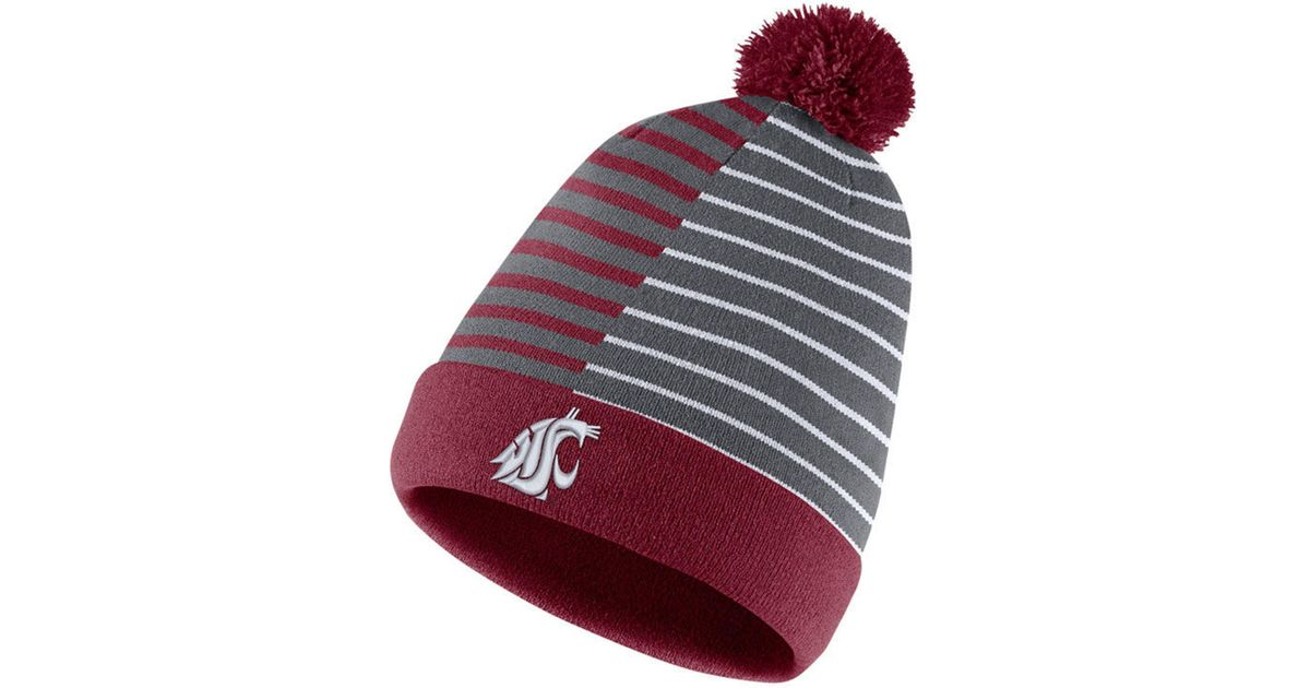 f1b65e77d7a Lyst - Nike Washington State Cougars Striped Beanie Knit Hat in Red for Men