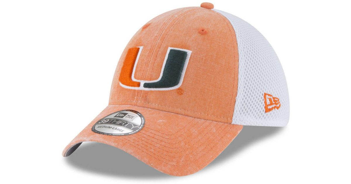 super popular 4df54 23b73 ... netherlands lyst ktz miami hurricanes washed neo 39thirty cap in orange  for men 3f573 926f3